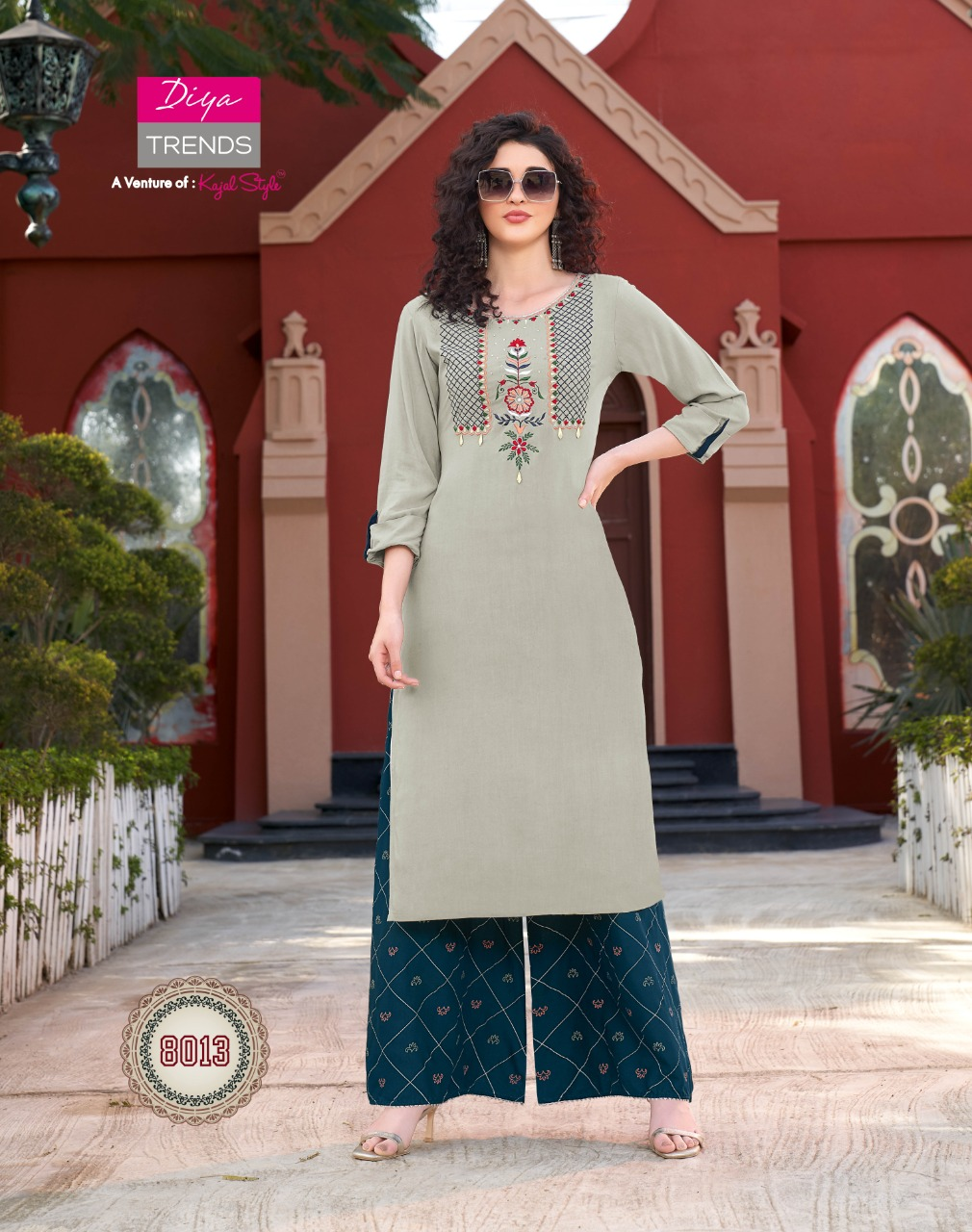 Diya Trends Biba's Vol 8 Rayon Printed With Embroidery Work Kurti With Palazzo Collection At Wholesale Rate
