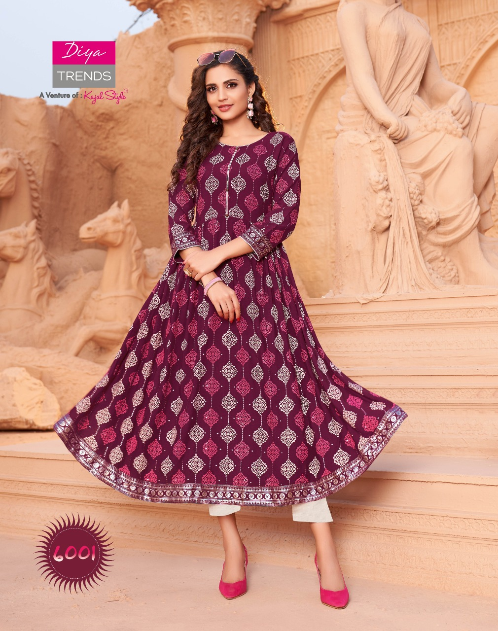 Diya Trends Ethnicity Vol 6 Rayon Print With Embroidery Work Kurtis Collection At Wholesale Rate