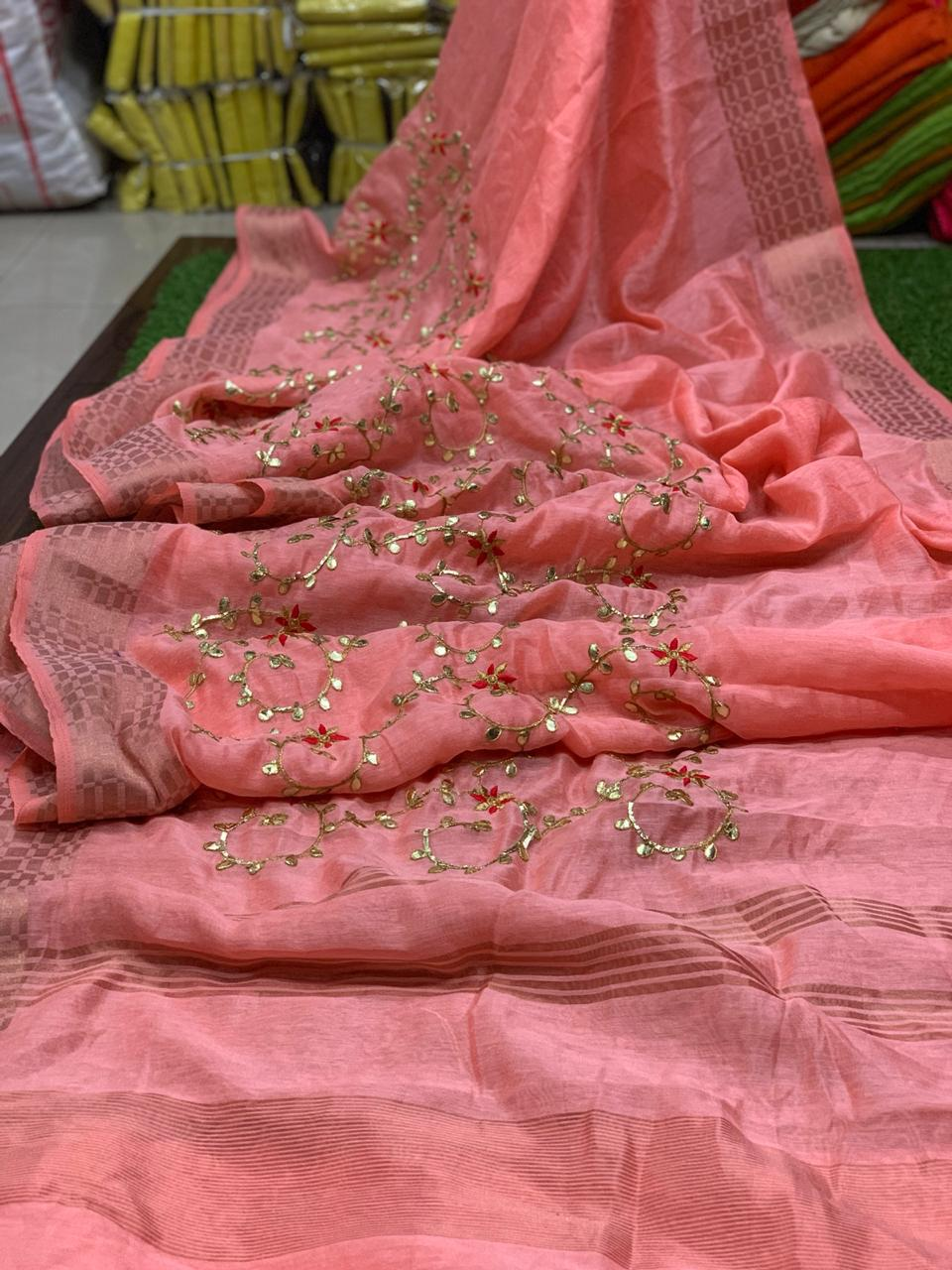 Latest Designer Soft Linen With Gota Patti Work Sarees Collection At Wholesale Rate