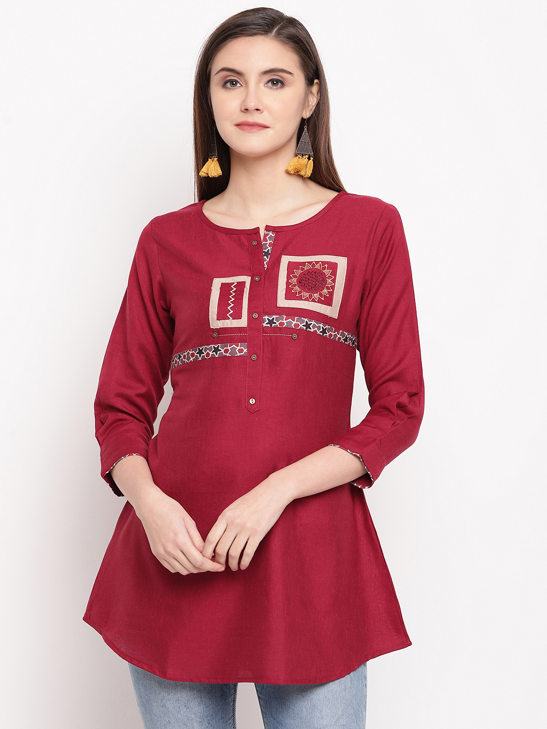 Designer Rayon Flex With Embroidery Work Fancy Readymade Short Kurti Tops Collection At Wholesale Rate