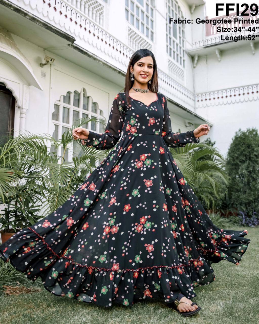 Latest Georgette Digital Printed Long Gown Wholesale Rate