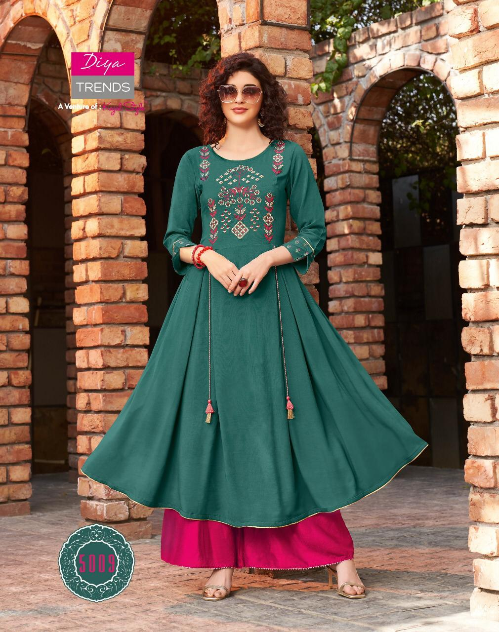 Diya Trends Ethnicity Vol 5 Rayon Printed With Fancy Embroidery Work Long Gown Style Kurtis Collection At Wholesale Rate