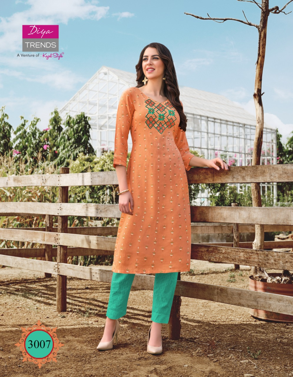 Diya Trends Victoria Vol 3 Rayon Foil Print With Embroidery Work Kurti With Pant Collection At Wholesale Rate