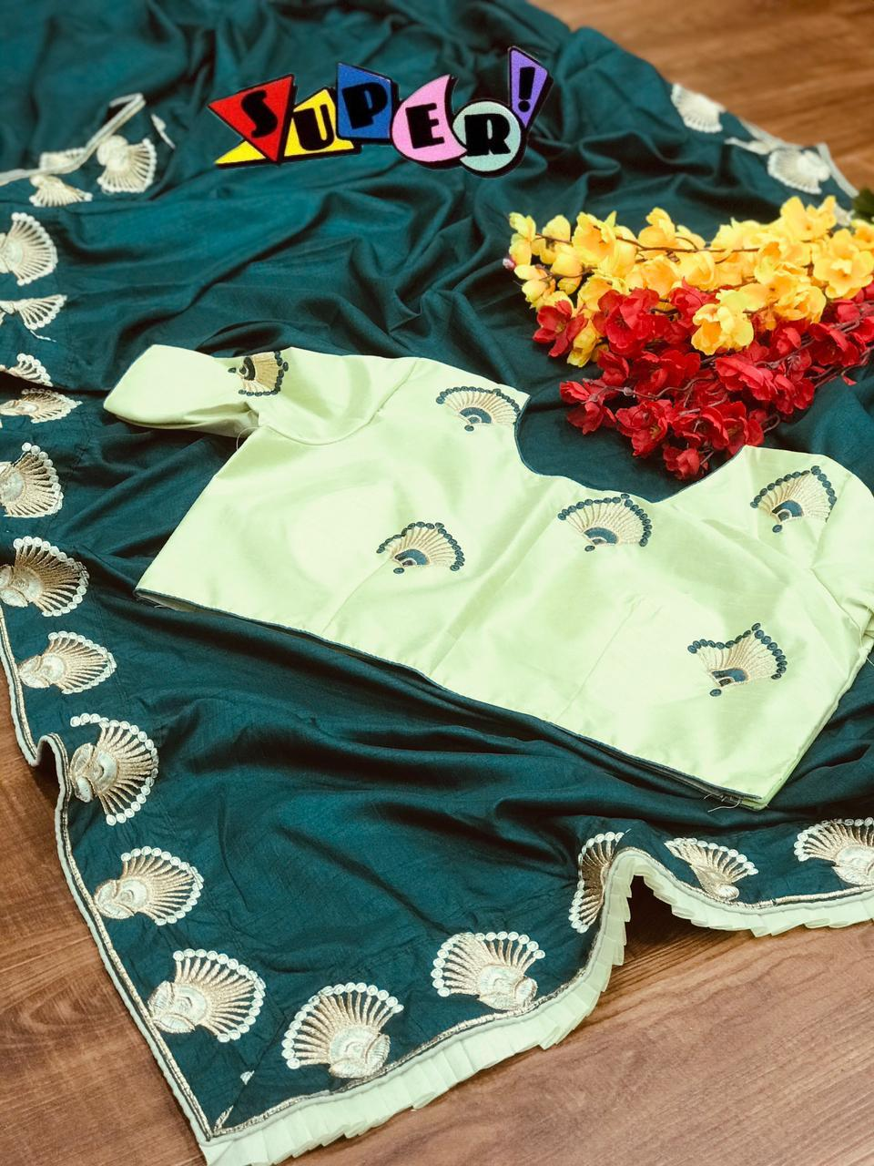 Latest Dola Silk On Multi Embroidery Work With Stich Work Blouse Sarees Collection At Wholesale Rate