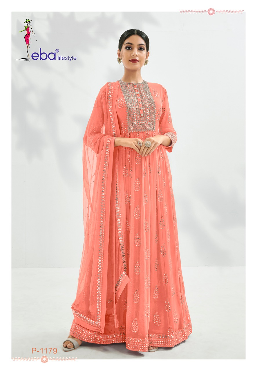 Eba Lifestyle Prime Rose Premium Semi Pure With Heavy Embroidery Work Salwar Kameez At Wholesale Rate