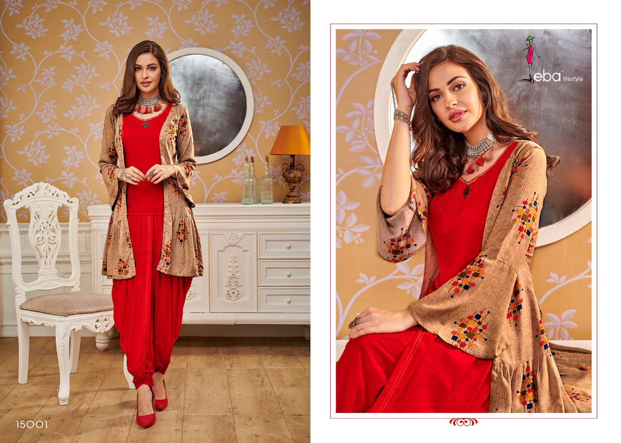 Eba Lifestyle Eba Vol 15 Printed Rayon Designer Readymade Kurtis With Bottom At Wholesale Rate