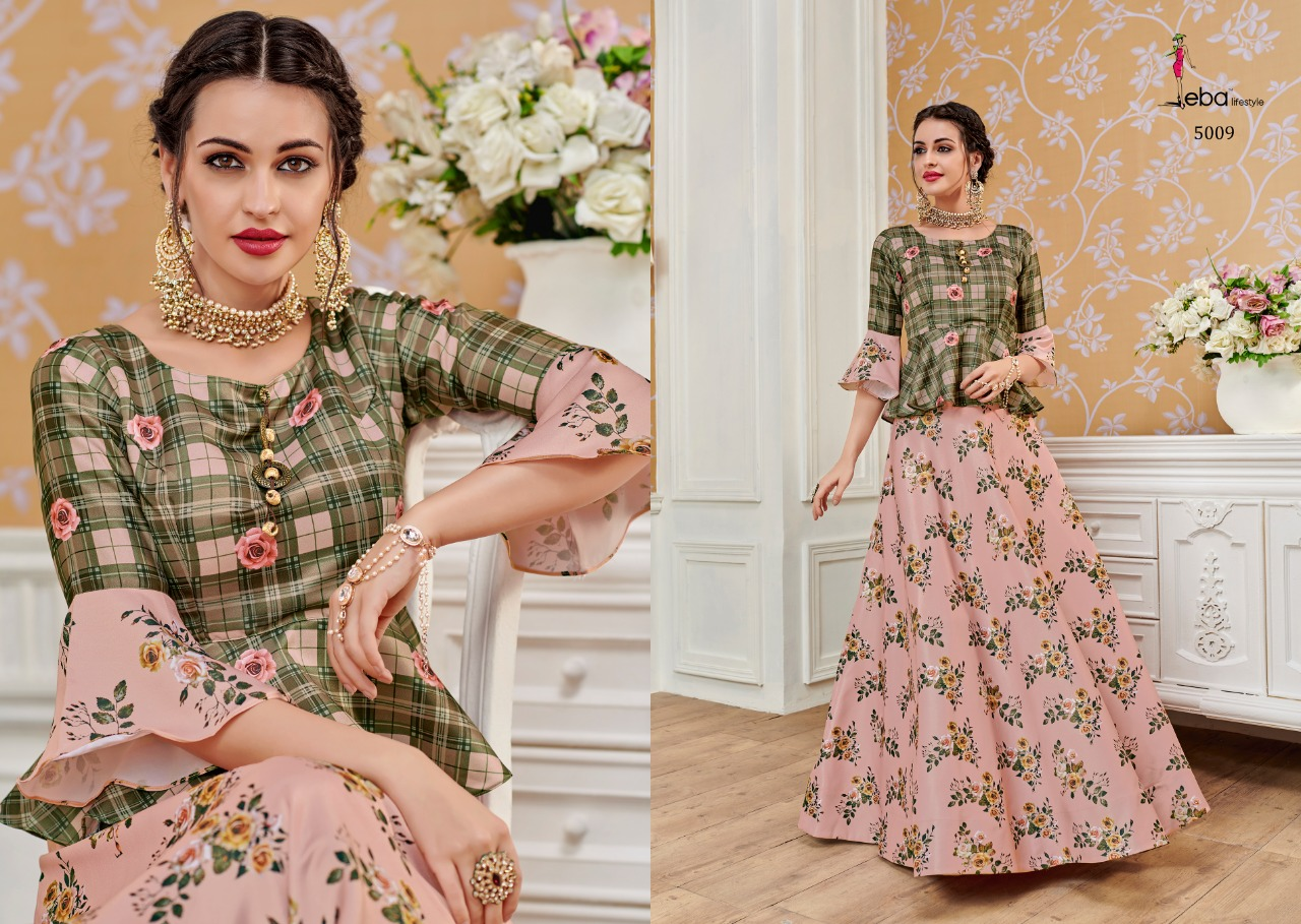 Eba Lifestyle Western Vol 4 Pure Satin Digital Prints Heavy Coding Work Top With Skirt At Wholesale Rate