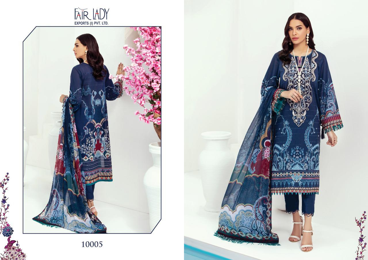 Fair Lady Farasha Lawn Pure Jam Satin Digital Print With Embroidery Patch Work Pakistani Suits Collection