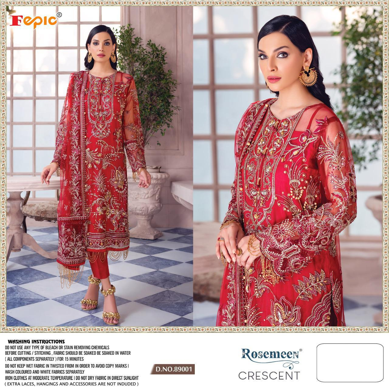 Fepic Rosemeen Crescent Georgette And Net With Heavy Embroidery Handwork Pakistani Dress Material At Wholesale Rate