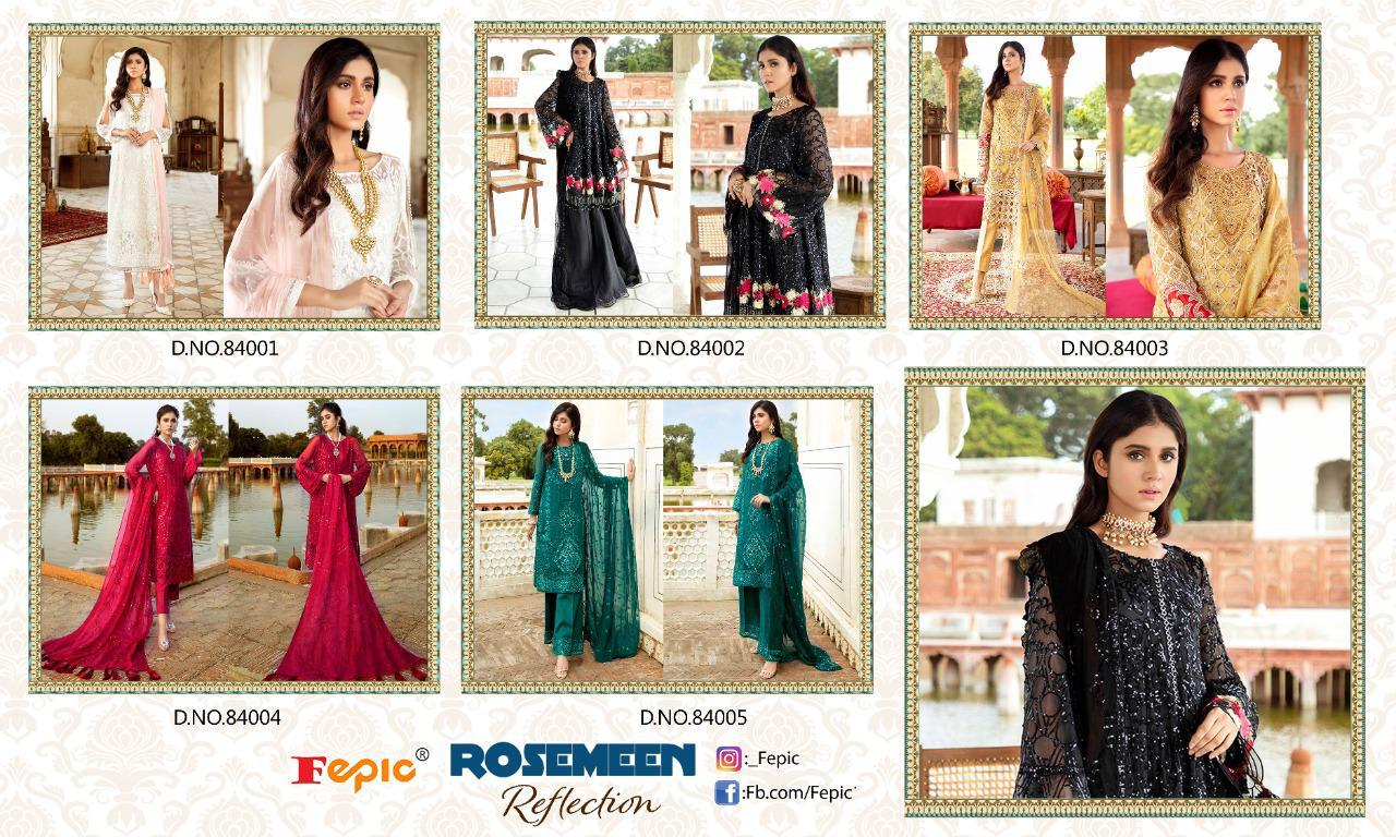 Fepic Rosemeen Reflection Georgette With Embroidery Work Pakistani Dress Material At Wholesale Rate