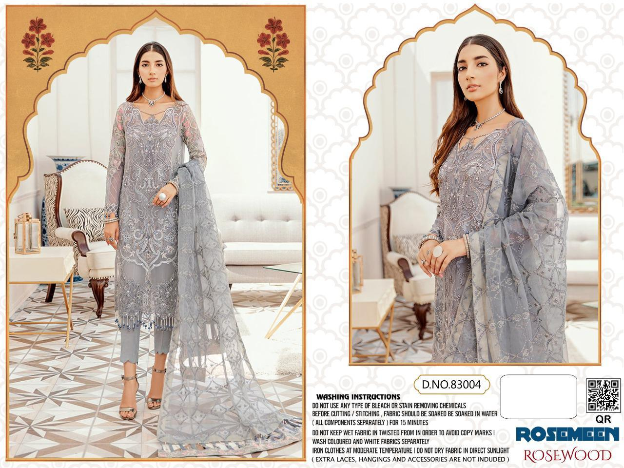 Fepic Rosemeen Rosewood Georgette And Net With Embroidery Work Pakistani Dress Material At Wholesale Rate