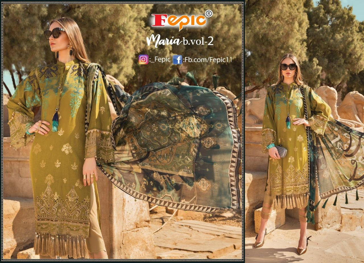 Fepic Rosemeen Maria B Vol 2 Heavy Rayon Printed With Embroidery Work Pakistani Suits Collection At Wholesale Rate