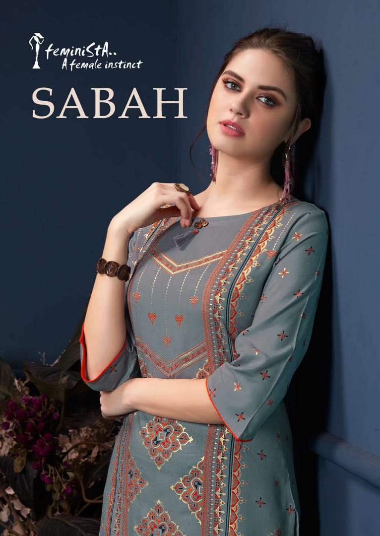 1a2b3eabdf Feminista Sabah Foil Printed Rayon Straight Readymade Kurtis at Wholesale  Rate | Ethnic Export