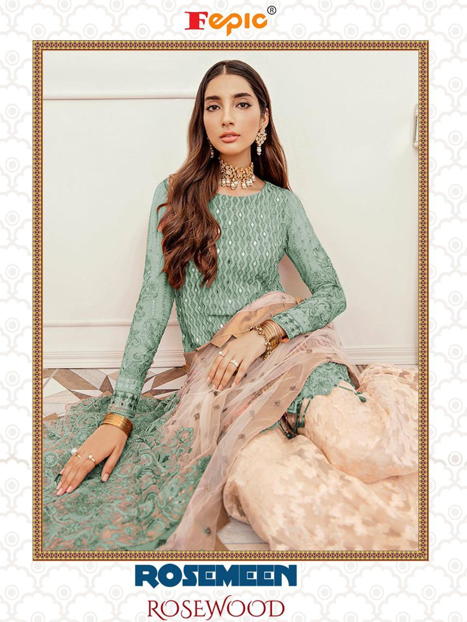 Fepic Rosemeen Rosewood Georgette With Heavy Embroidery Work Pakistani Dress Material Collection At Wholesale Rate