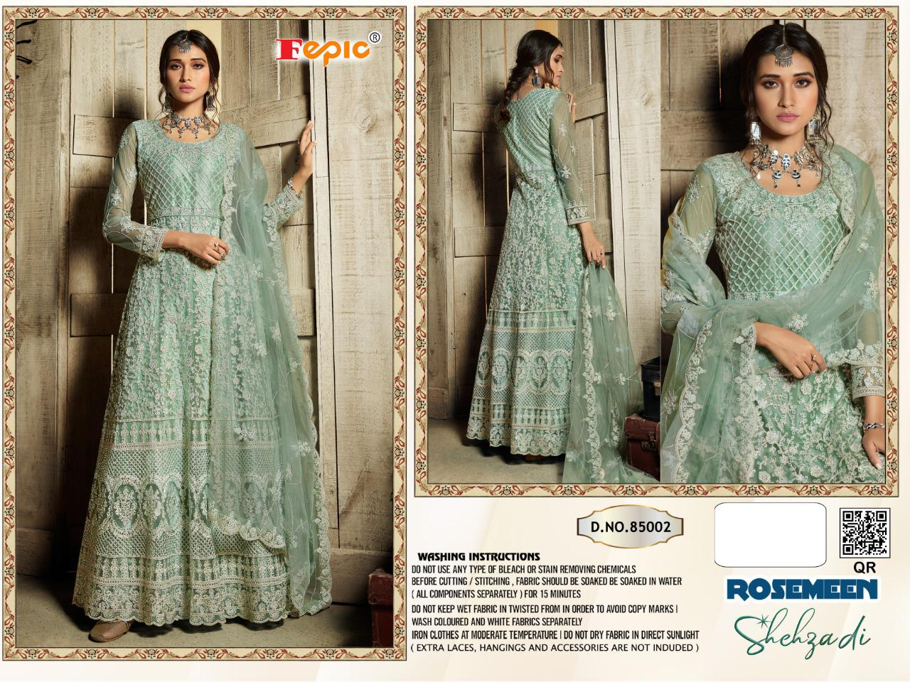 Fepic Rosemeen Shehzadi Heavy Designer Net With Heavy Embroidery Work Pakistani Dress Material At Wholesale Rate