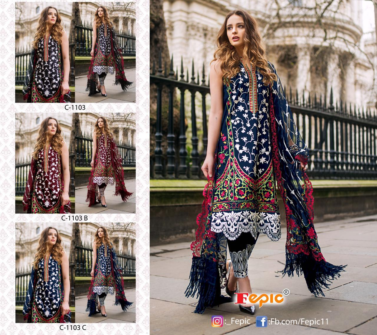 Fepic Rosemeen C 1103 Heavy Net Embroidery Work Pakistani Suits Collection