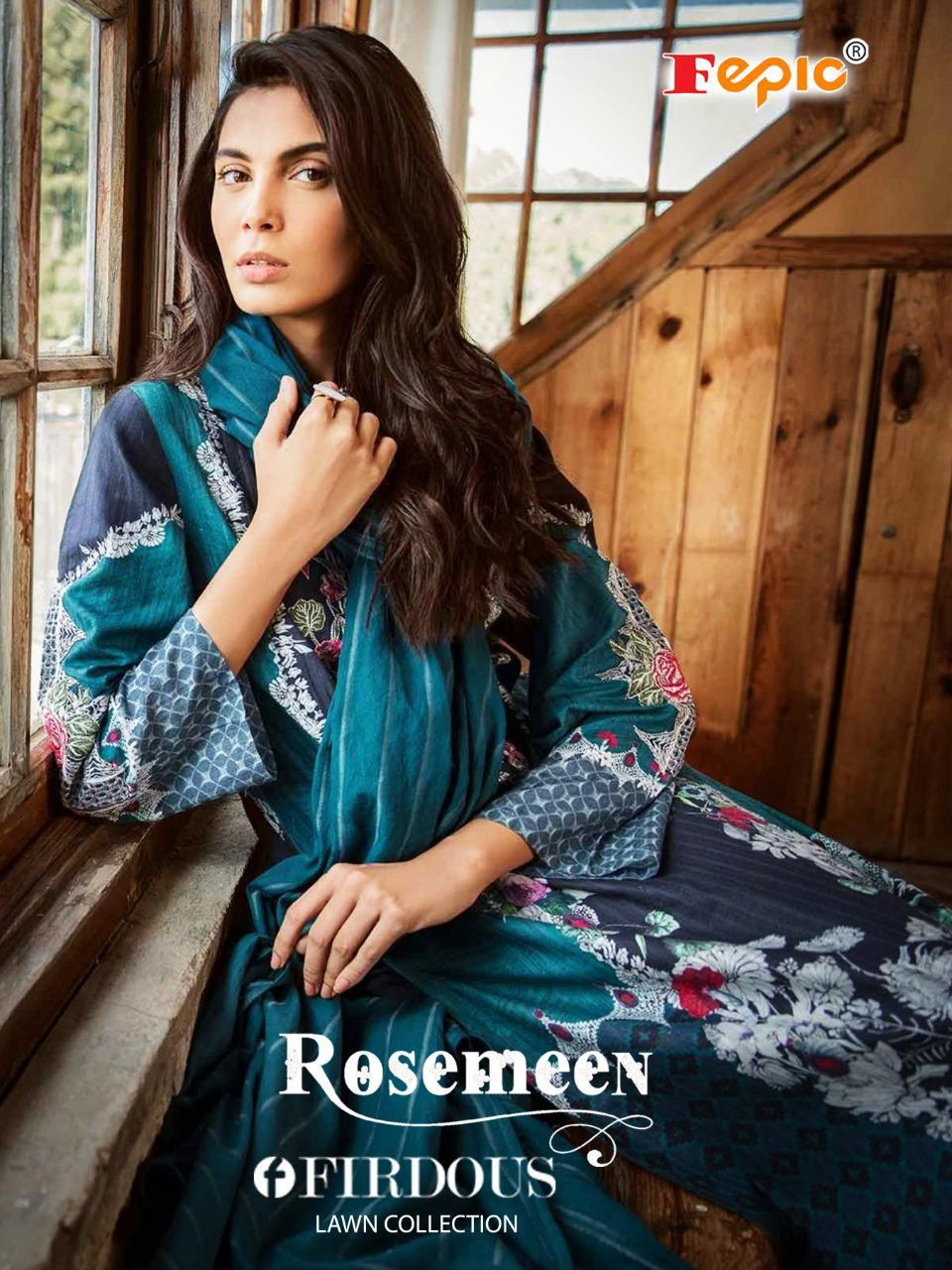 Fepic Rosemeen Firdous Lawn Collection Pure Cambric Cotton Printed With Embroidery Work Patch Work Pakistani Collection At Wholesale Rate