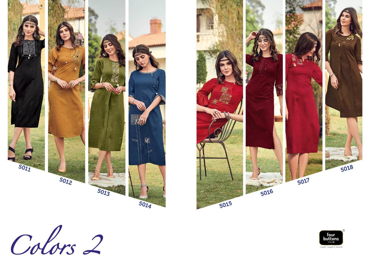 Four Buttons Colors Vol 2 Designer Cotton With Embroidery Work Readymade Kurtis At Wholesale Rate