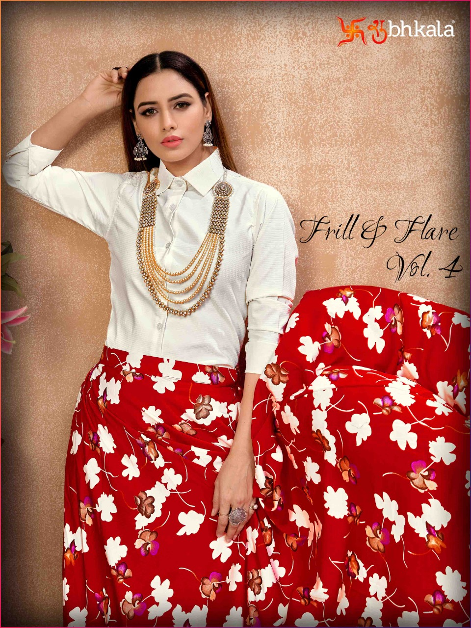 Frill And Flare Vol 4 Exclusive Crop Top With Skirt Collection At Wholesale Rate