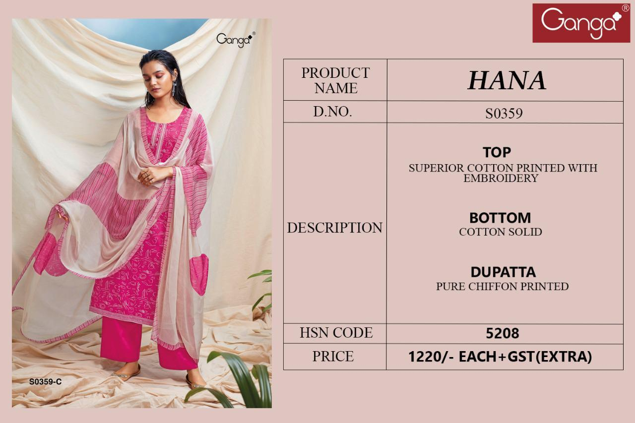 Ganga Hana 359 Superior Lawn Cotton Printed With Embroidery Work Salwar Kameez At Wholesale Rate