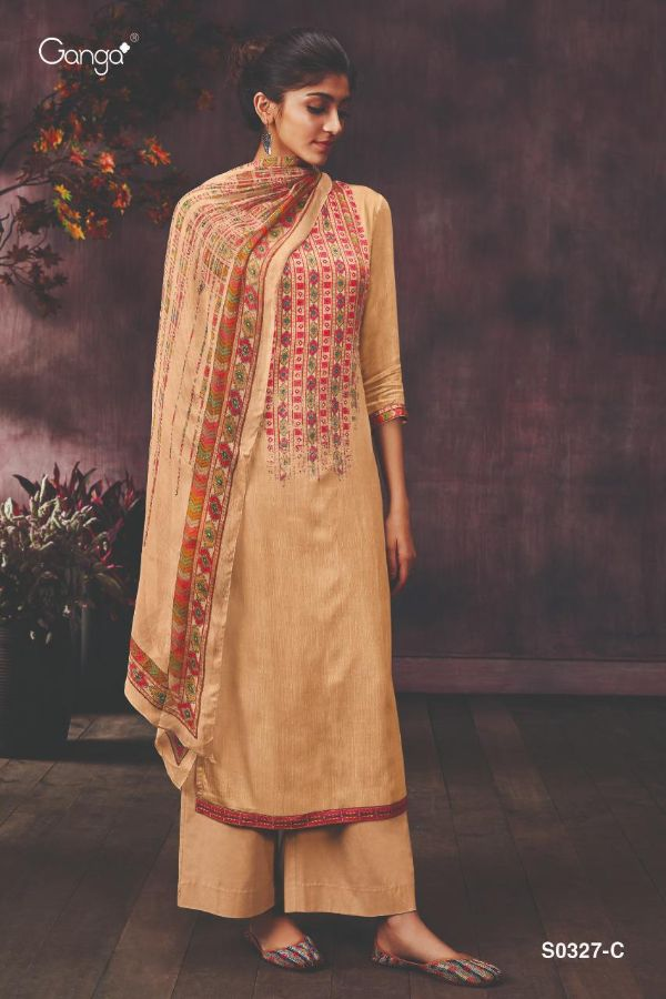 Ganga Livia S0327 Series Printed Pure Modal Satin With Embroidery Diamond Work Dress Material At Wholesale Rate