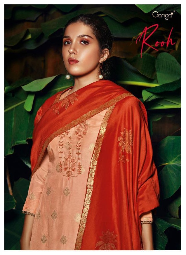 Ganga Rooh Pure Muslin Jacquard With Heavy Embroidery Work Salwar Kameez Collection At Wholesale Rate