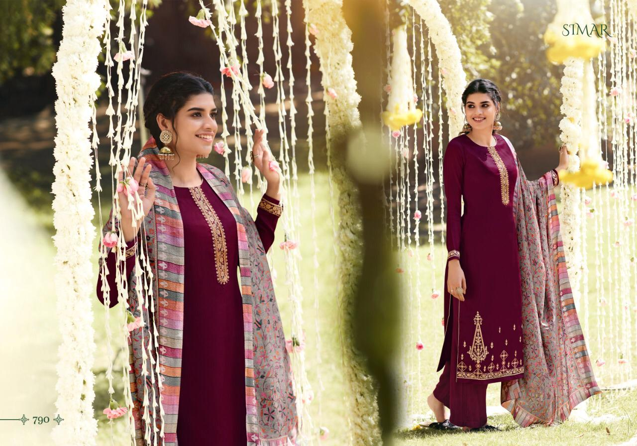 Glossy Simar Misti Pure Silk Pashmina With Fine Embroidery Work Dress Material At Wholesale Rate