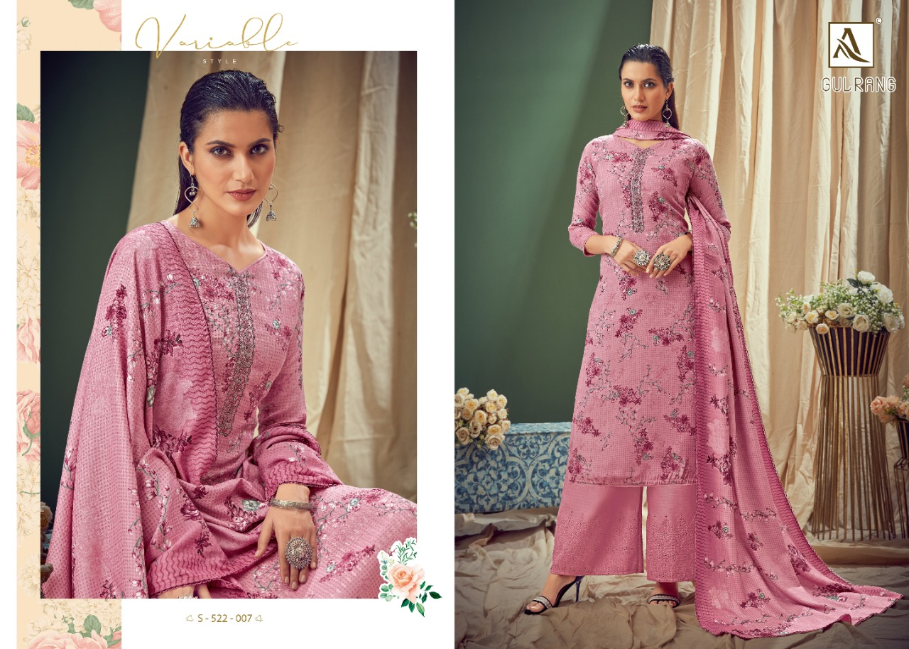 Alok Suits Gulrang Pure Wool Pashmina Print With Fancy Thread Embroidery Work Dress Material At Wholesale Rate