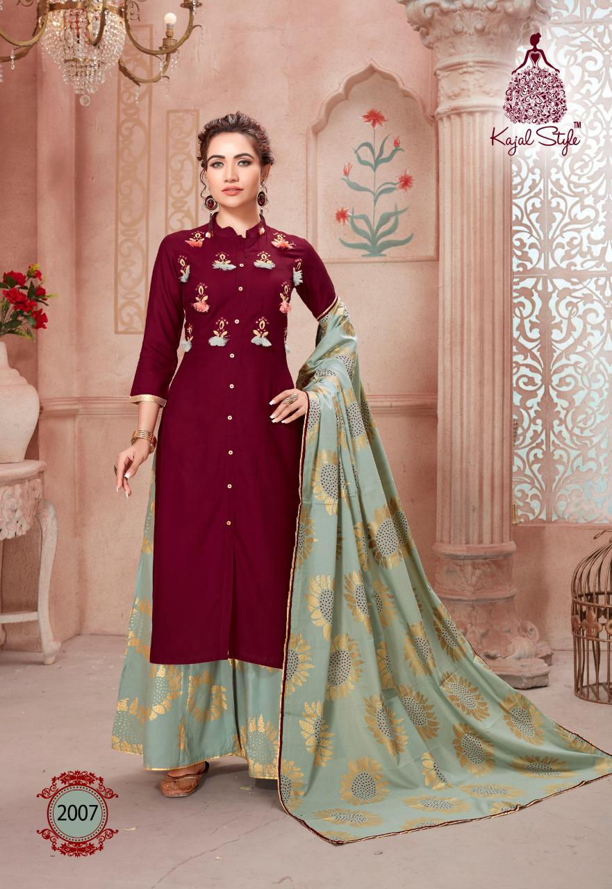 Kajal Style Gulzar Vol 2 Designer Printed Heavy Rayon With Work Readymade Kurtis With Bottom And Dupatta At Wholesale Rate