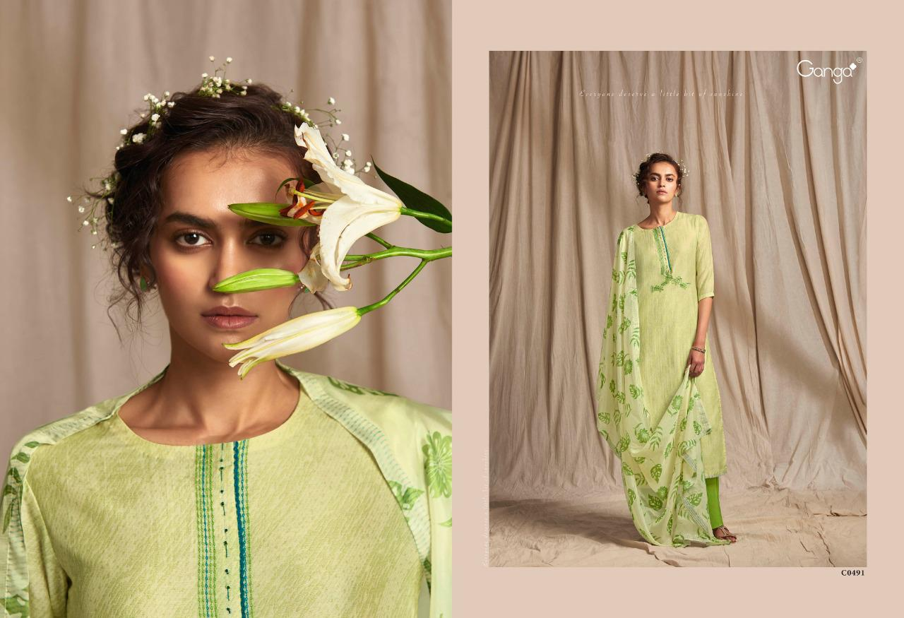 Ganga Colour Wave Finest Bemberg Silk Printed With Embroidery Work Designer Salwar Suits At Wholesale Rate