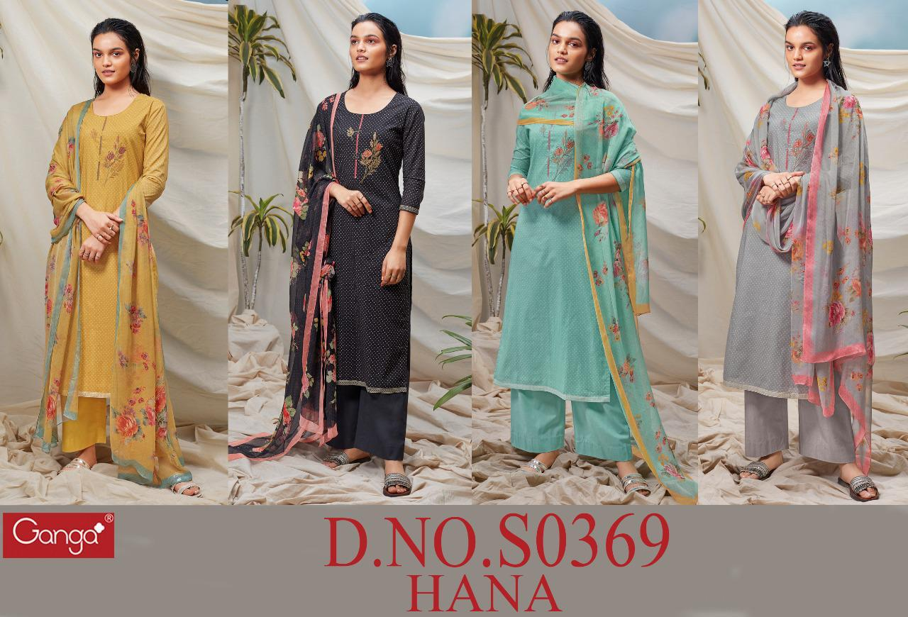Ganga Hana 369 Lawn Cotton Printed With Embroidery Work Salwar Kameez At Wholesale Rate