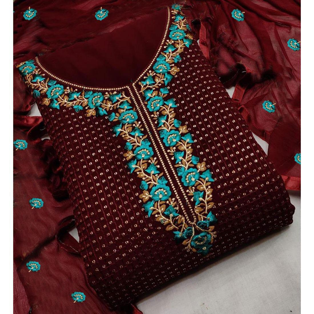 Georgette With Multi And Sequence Work With Moti Work Dress Material Collection At Wholesale Rate