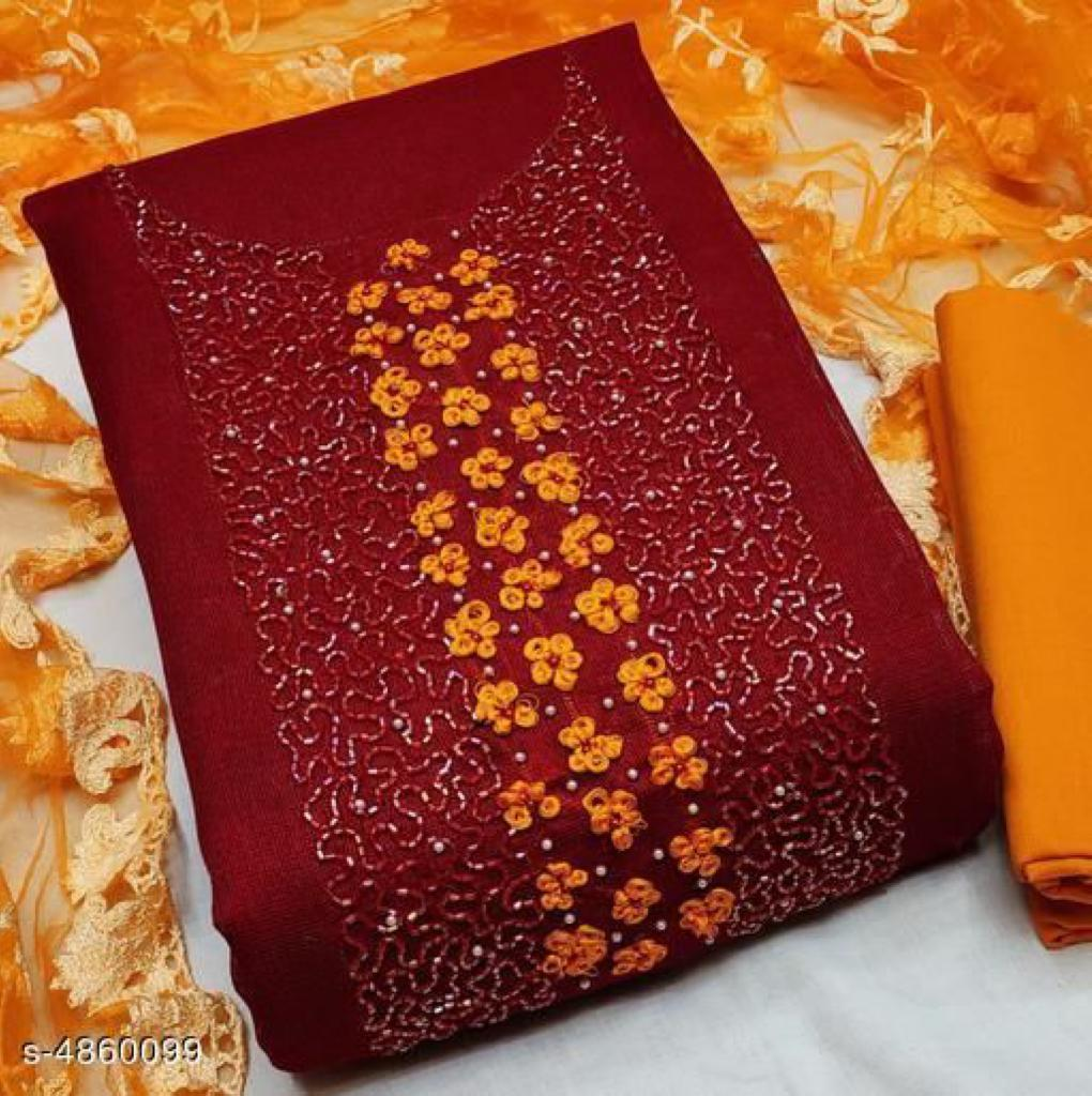 Glace Cotton With Hand Work Dress Material Collection At Wholesale Rate