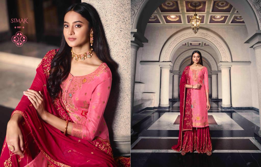 Glossy Simar Aasma Pure Dola Jacquard With Swarovski Work Salwar Kameez Collection At Wholesale Rate