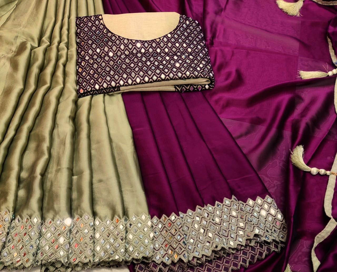 Heavy Rangoli Embroidery Work With Real Mirror Work Sarees Collection