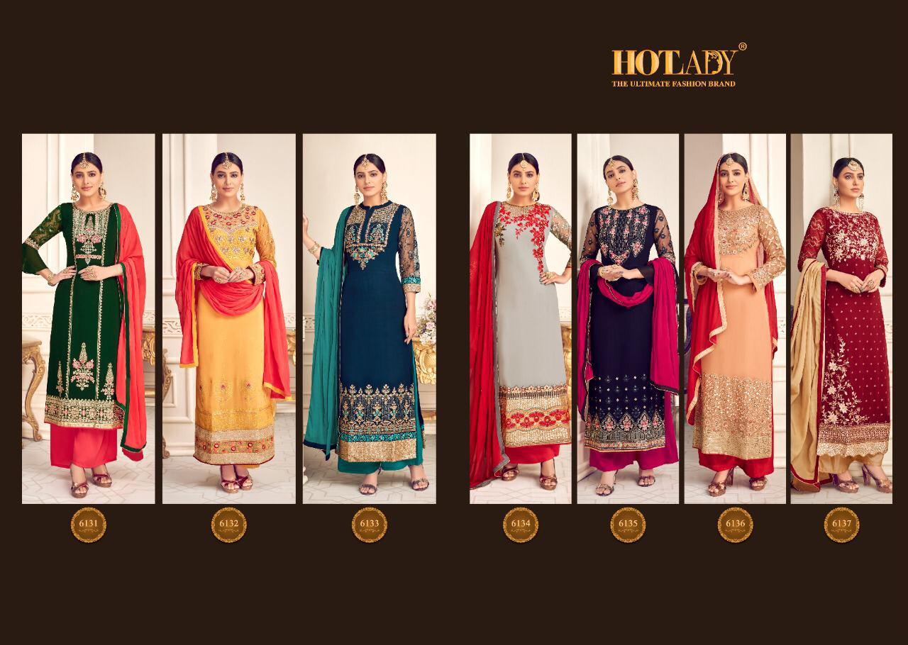Hotlady Mishti Viscose Georgette With Embroidery Work Dress Material At Wholesale Rate