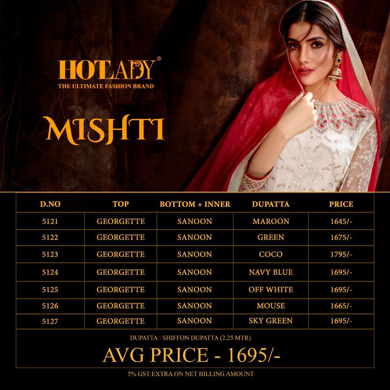 Hotlady Mishti Designer Georgette With Embroidery Work Dress Material At Wholesale Rate