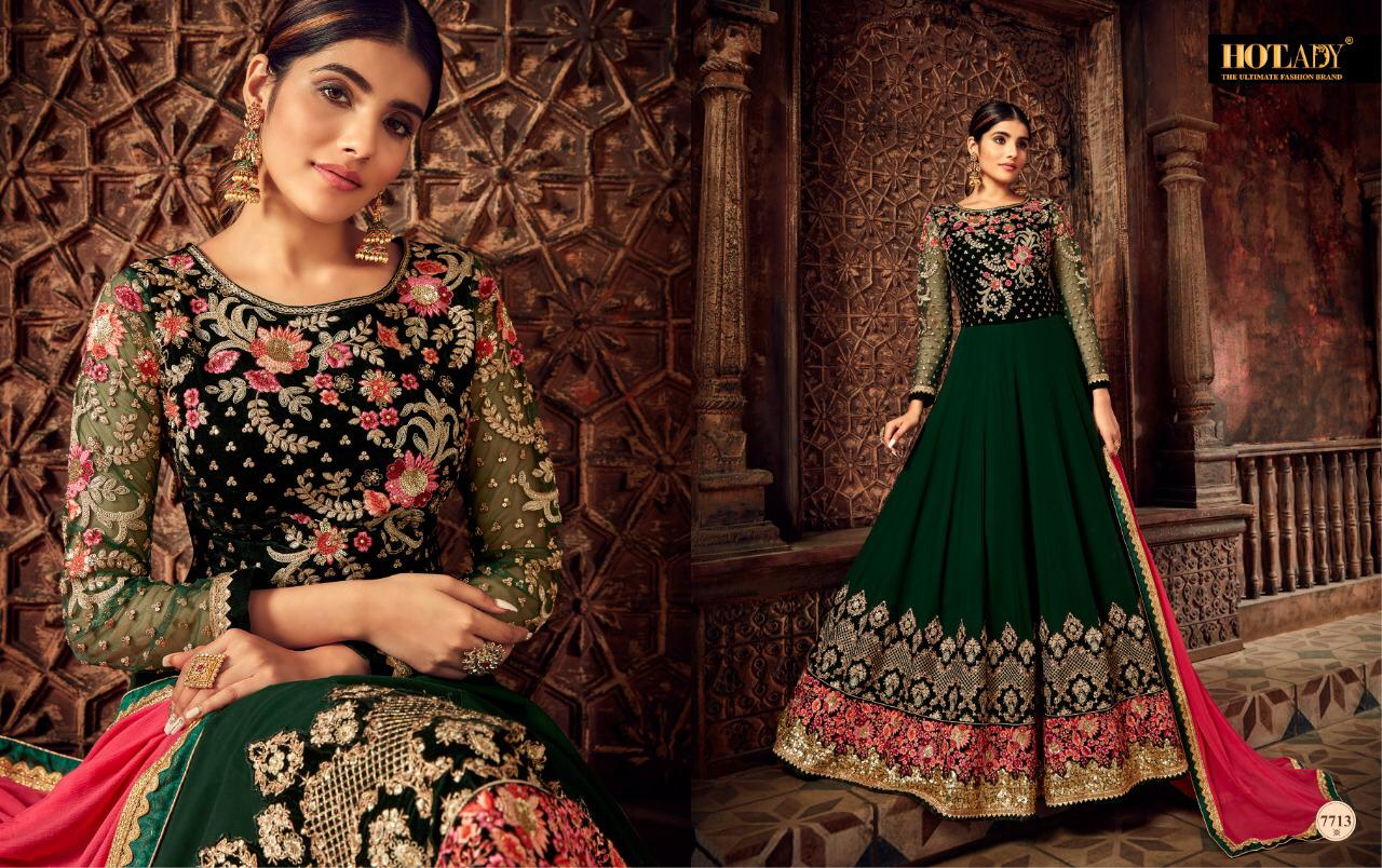 Hotlady Nairaa Pure Georgette With Embroidery Work Long Anarkali Salwar Kameez At Wholesale Rate