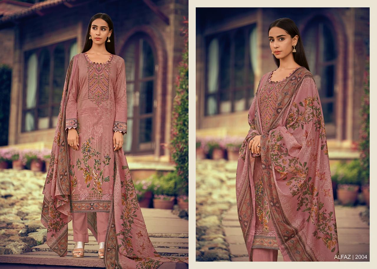 House Of Lawn Alfaz Digital Printed Glace Cotton With Embroidery Work Dress Material At Wholesale Rate