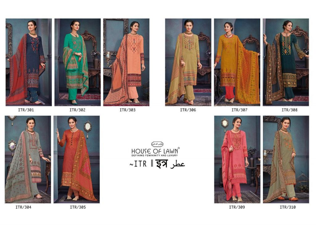House Of Lawn Itr Designer Printed Heavy Jam Satin With Embroidery Handwork Dress Material Collection