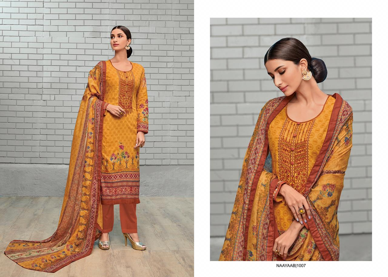 House Of Lawn Naayaab Digital Printed Karachi Lawn Cotton With Embroidery Work Dress Material Dealer Surat