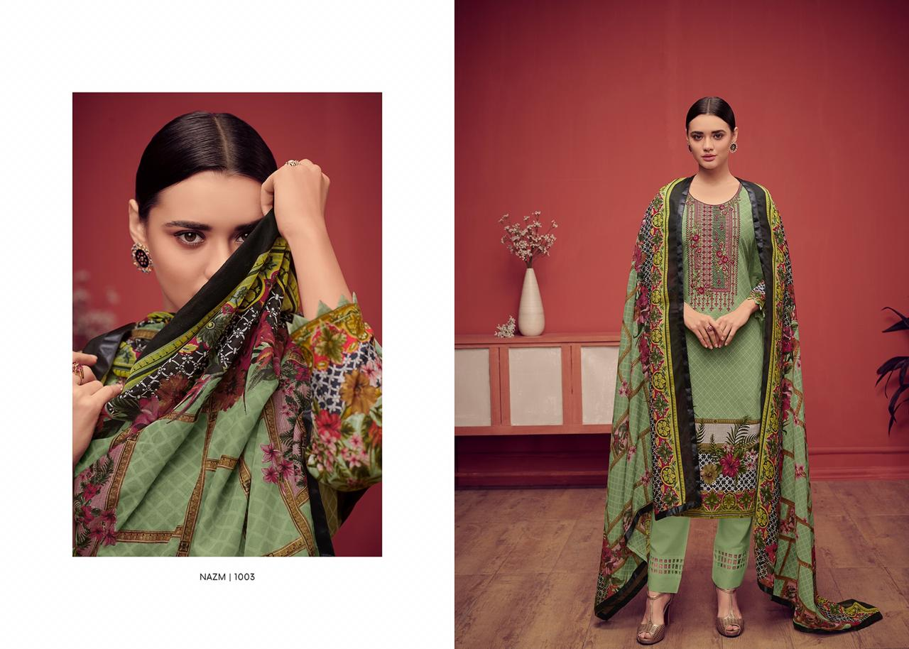 House Of Lawn Nazm Digital Printed Karachi Lawn Cotton With Embroidery Work Dress Material At Wholesale Rate