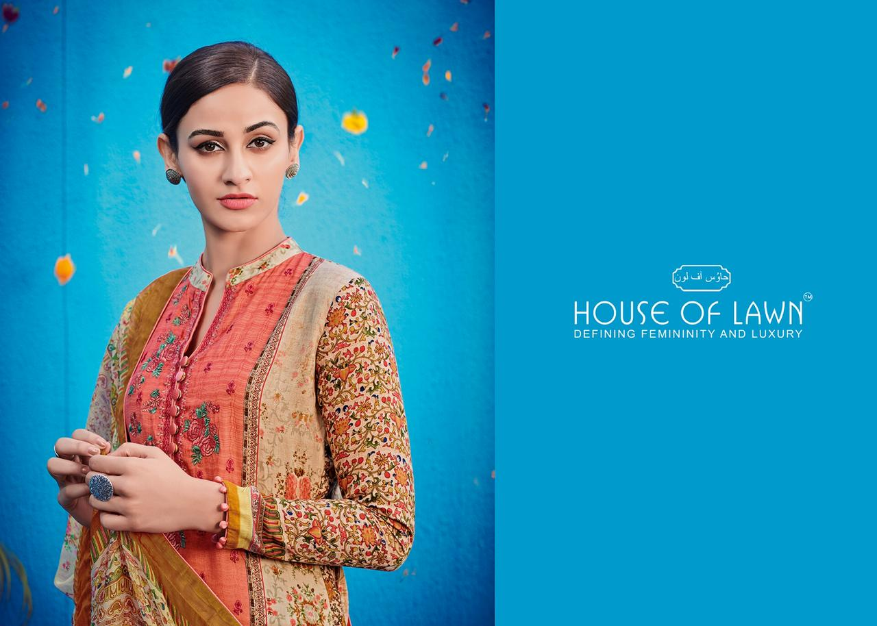House Of Lawn Raas Printed Pure Jam Satin With Work Dress Material At Wholesale Rate