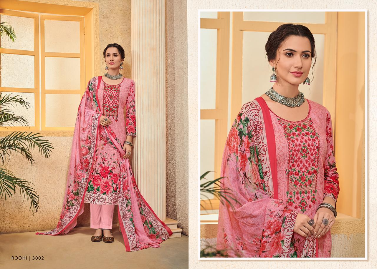 House Of Lawn Roohi Digital Printed Embroidered Pure Karachi Lawn Cotton Dress Material At Wholesale Rate