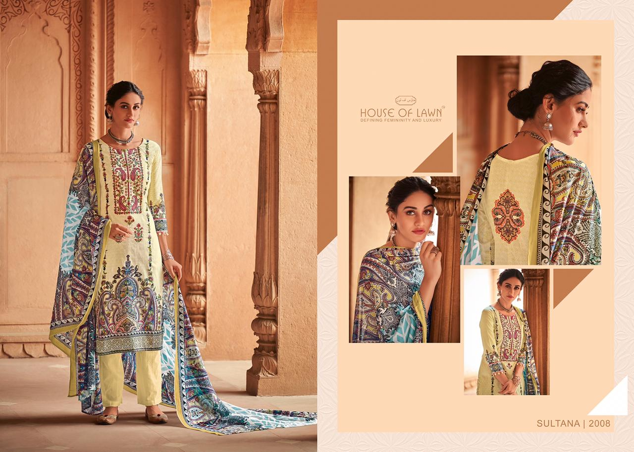House Of Lawn Sultana Digital Printed Karachi Lawn Cotton With Embroidery Work Dress Material At Wholesale Rate