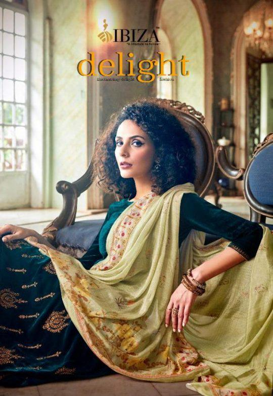 Sanskruti Silk Mills Ibiza Delight Pure Velvet With Embroidery Work Dress Material Collection At Wholesale Rate