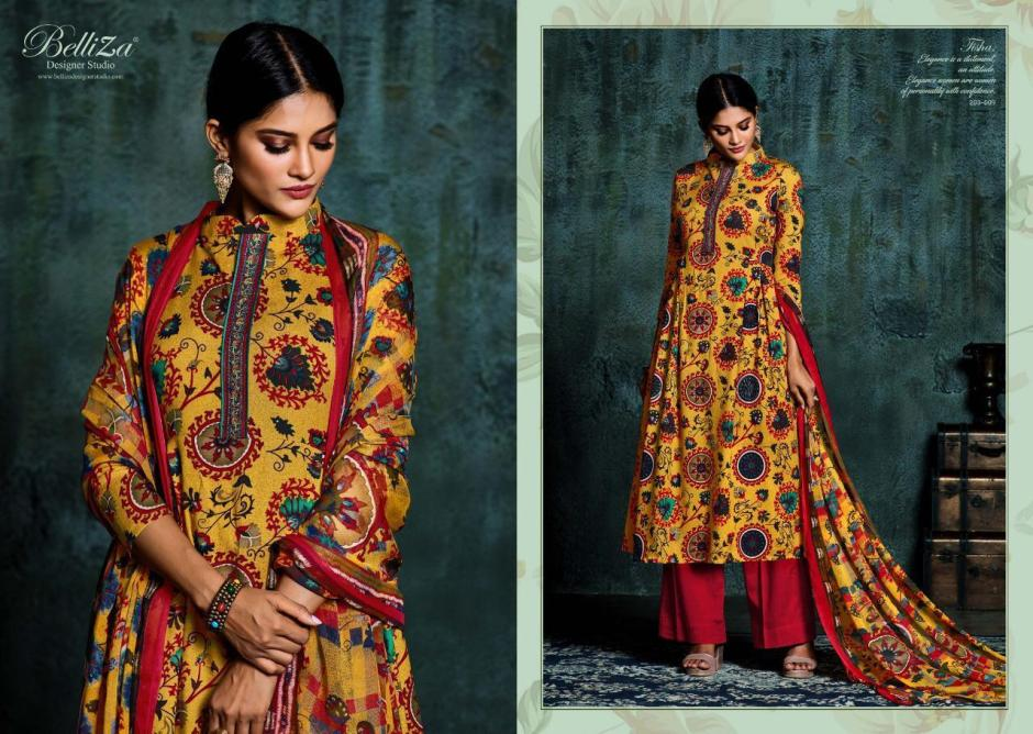 Belliza Designer Studio Tisha Digital Printed Pure Heavy Rayon With Embroidery Work Dress Material