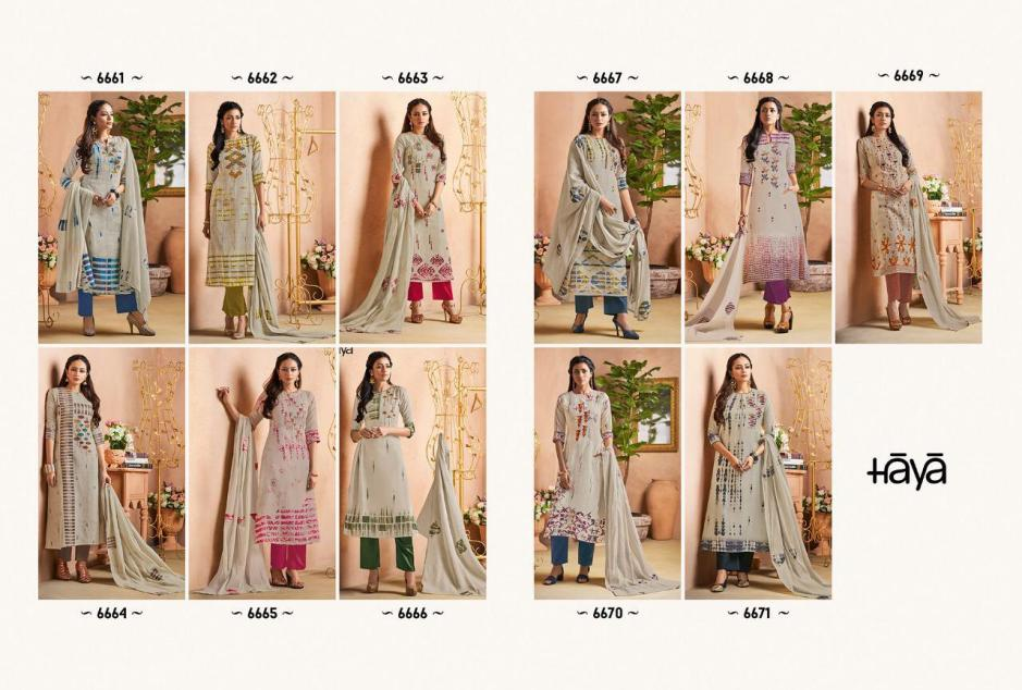 Haya Gorgeous Designer Digital Printed Pure Linen With Embroidery Work Dress Material At Wholesale Rate