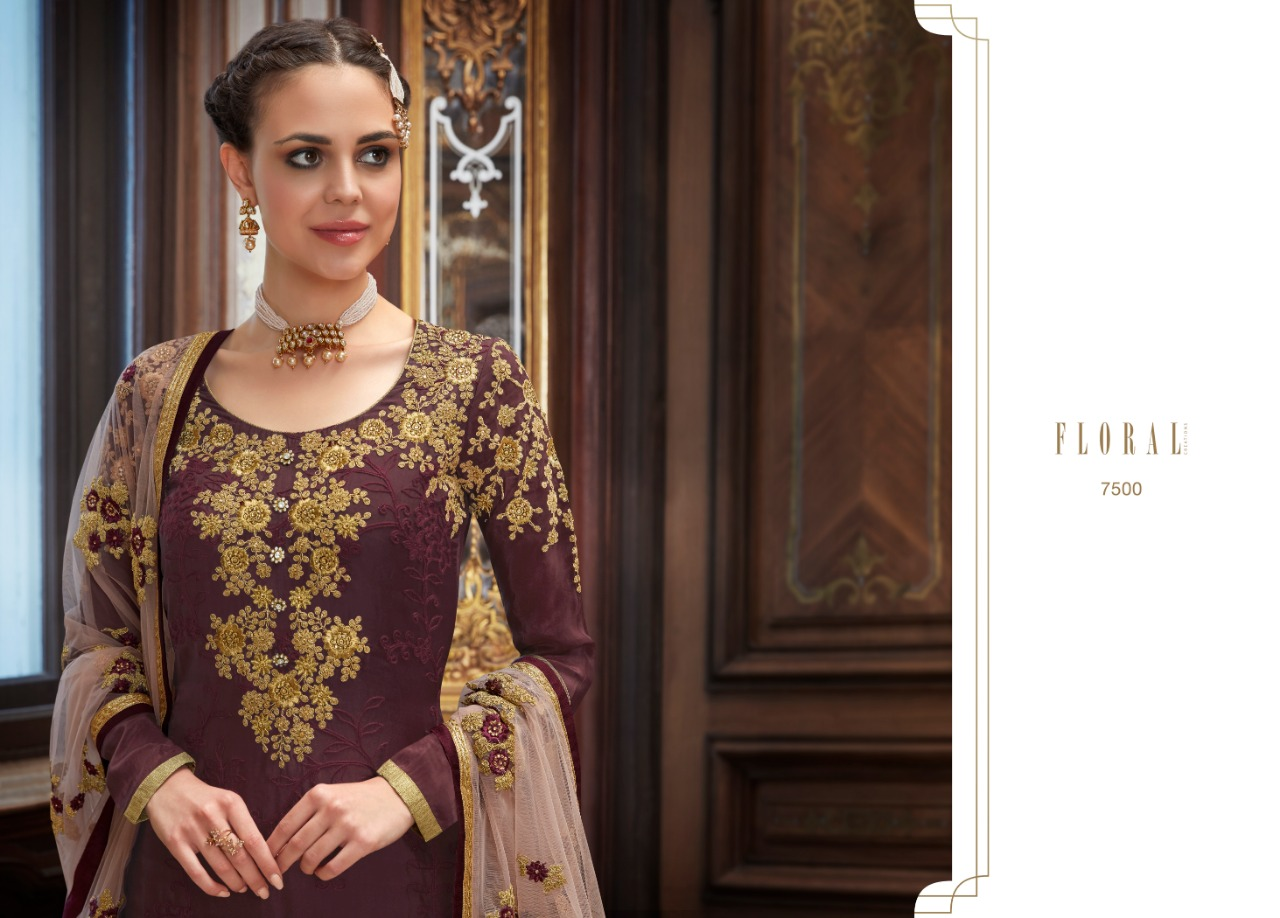 Jinaam's Dress Floral Helena Rangoli Georgette And Upada With Embroidery Work Dress Material At Wholesale Rate