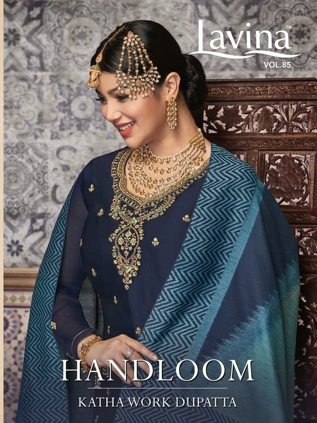 Lavina Vol 85 Handloom Katha Work Dupatta Satin Georgette With Embroidery Work Dress Material At Wholesale Rate